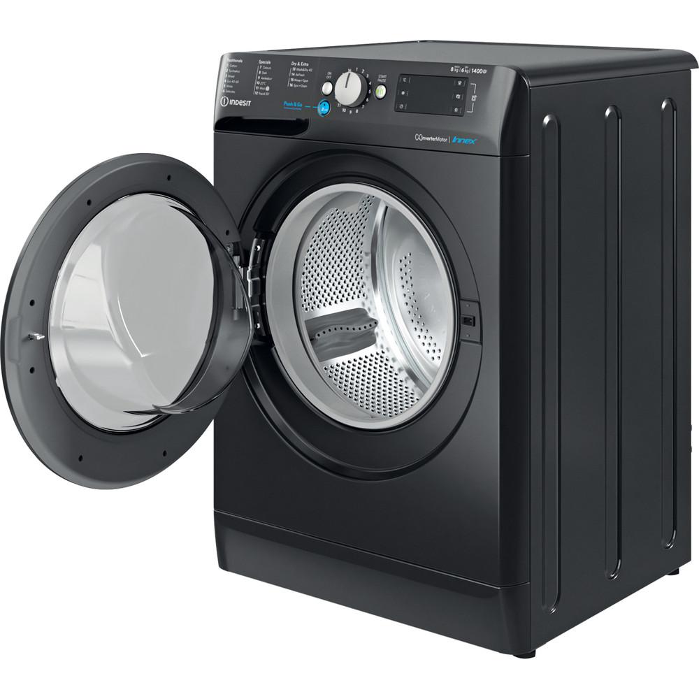 Indesit Washer dryer Free-standing BDE 861483X K UK N Black Front loader Perspective open