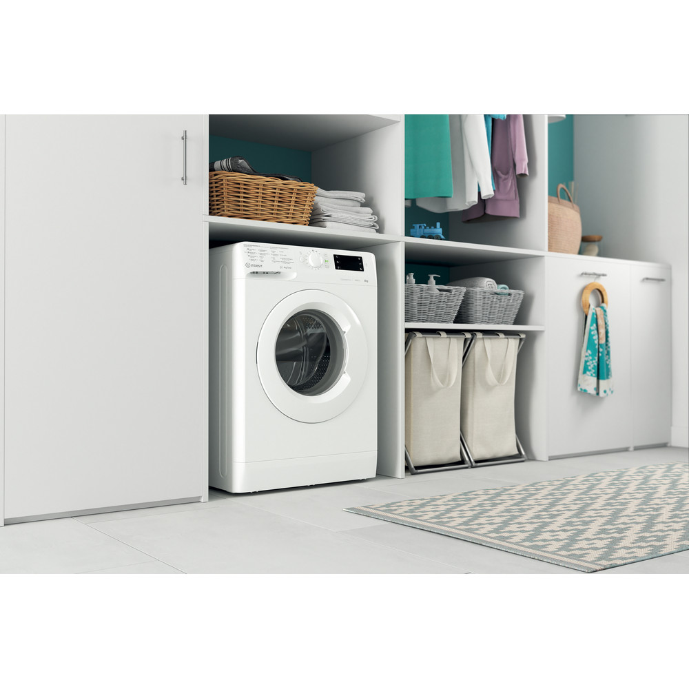 Indesit Lave-linge Pose-libre MTWE 81483 W BE Blanc Frontal D Lifestyle perspective