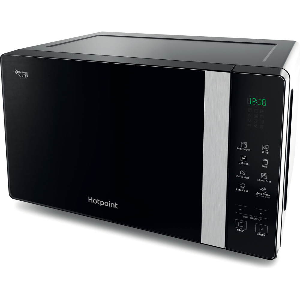 Hotpoint Microwave Free-standing MWHF 206 B Black Electronic 20 MW+Grill function 800 Perspective