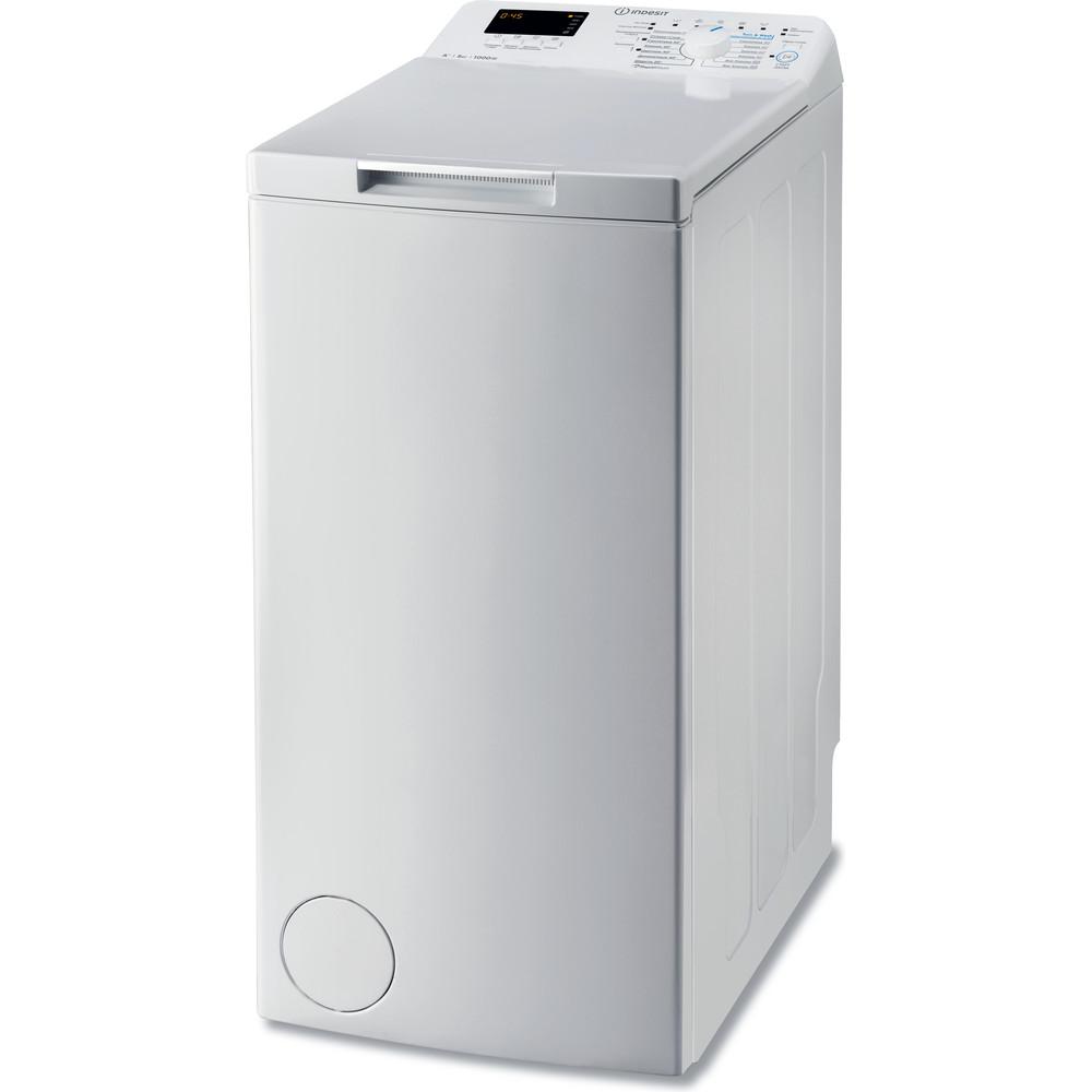 Indesit Стиральная машина Отдельностоящий BTW D51052 (RF) Белый Вертикальная загрузка A Perspective