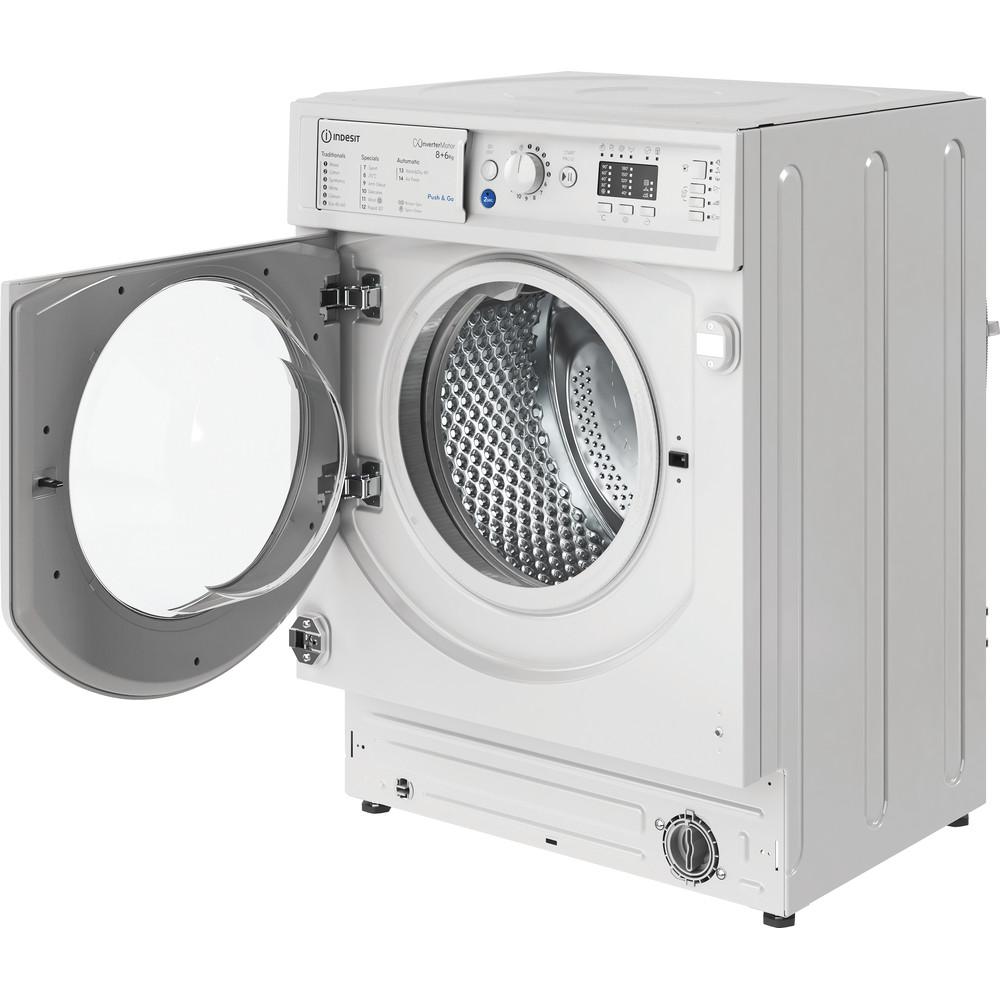 Indesit Washer dryer Built-in BI WDIL 861284 UK White Front loader Perspective open