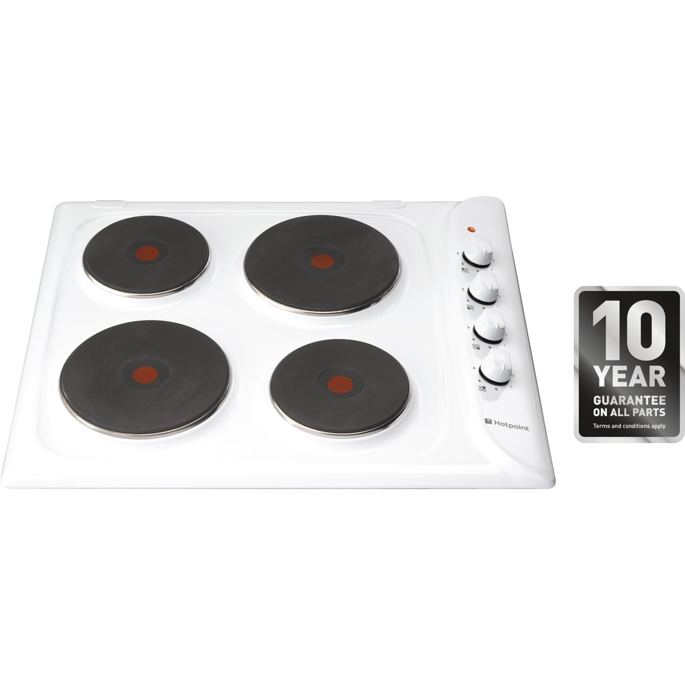 Hotpoint HOB E604W White Solid Plate Frontal top down