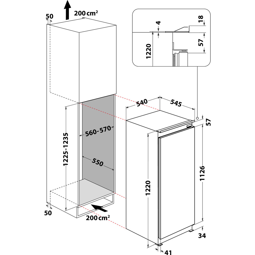 Indesit Koelkast Ingebouwd SZ 12 A2D/I 1 Rvs Technical drawing