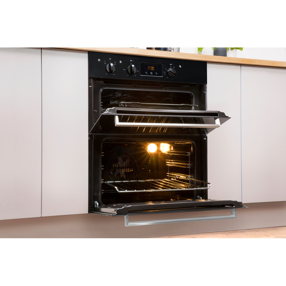 Indesit Double oven IDU 6340 BL Black B Lifestyle perspective open