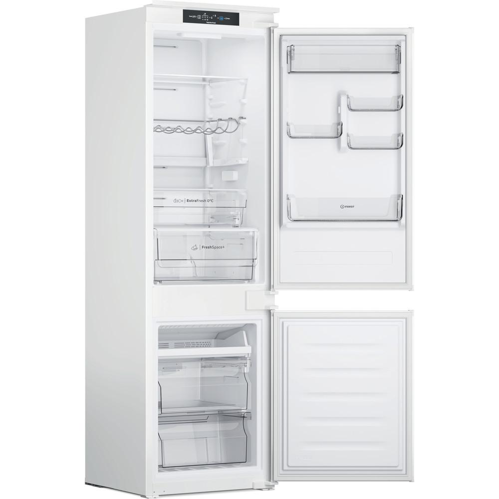 Indesit Combiné réfrigérateur congélateur Encastrable INC18 T332 Blanc 2 portes Perspective open