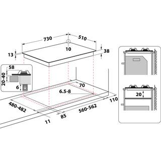 Whirlpool HOB TGML 761 IX Inox GAS Technical drawing
