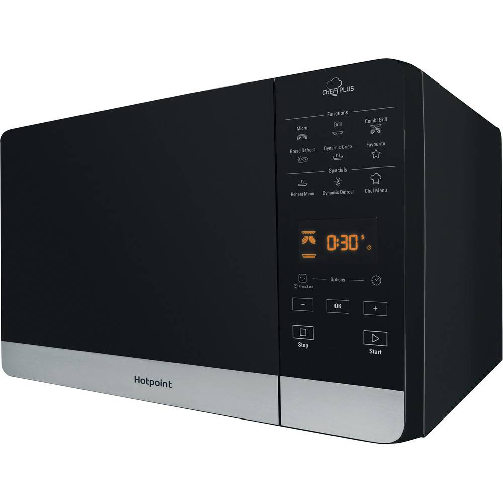 Hotpoint Microwave Free-standing MWH 27321 B Black Electronic 25 MW+Grill function 800 Perspective