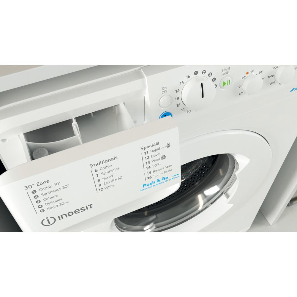 Indesit Washing machine Free-standing BWSC 61251 XW UK N White Front loader F Drawer