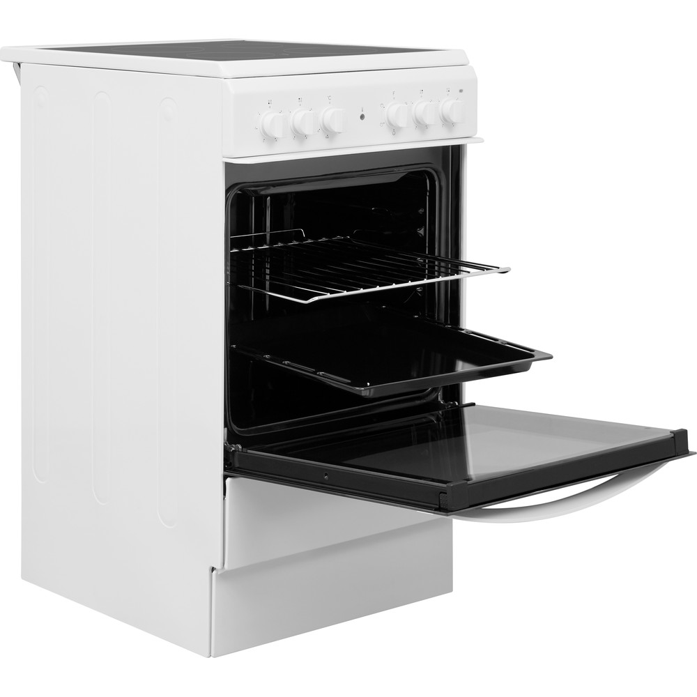 Indesit Cooker IS5V4KHW/UK White Electrical Perspective open