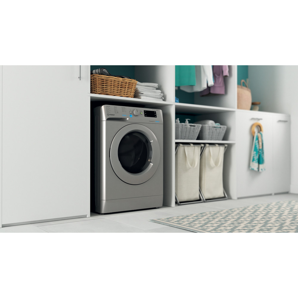 Indesit Washer dryer Free-standing BDE 861483X S UK N Silver Front loader Lifestyle perspective