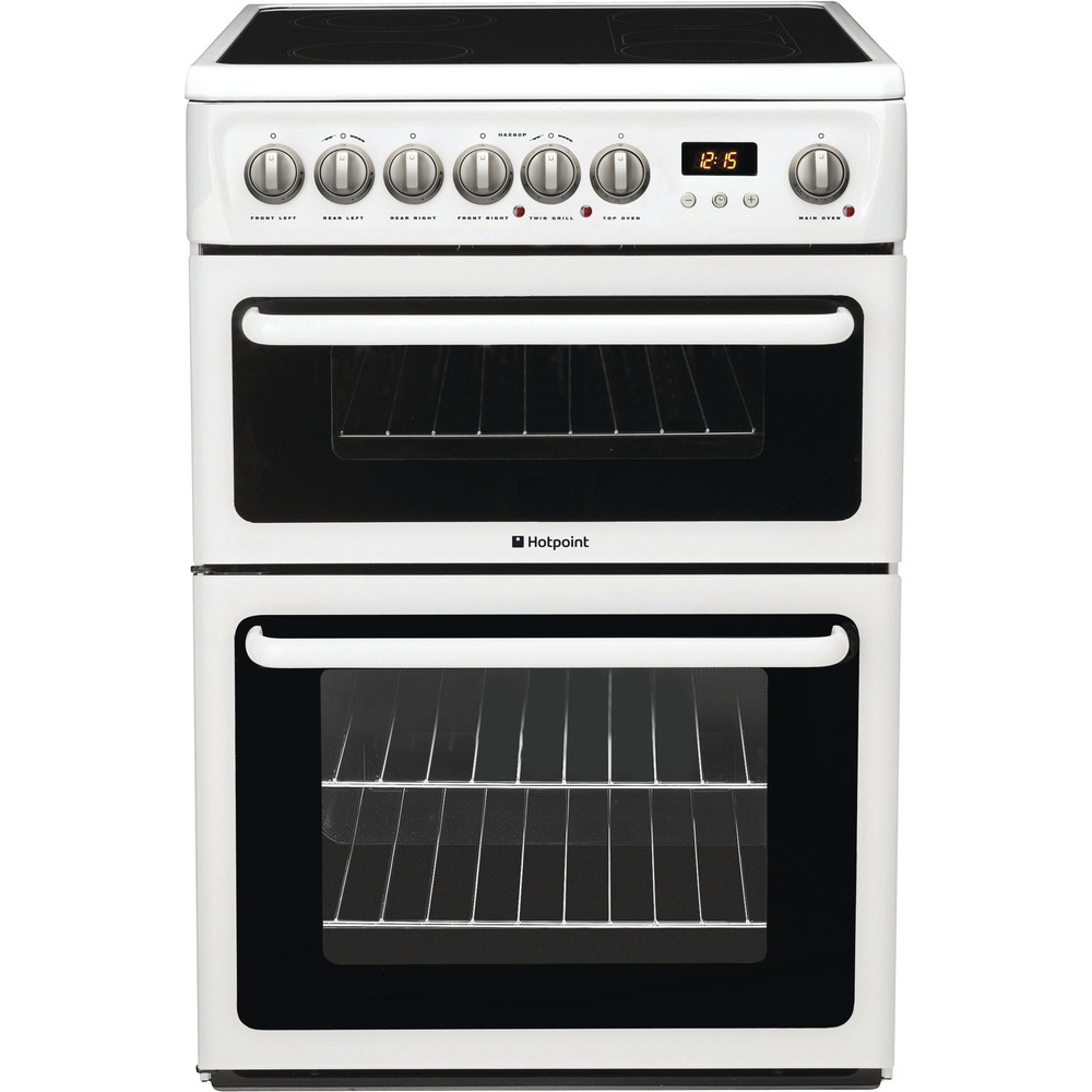 Hotpoint Double Cooker HAE60P S White A Vitroceramic Frontal