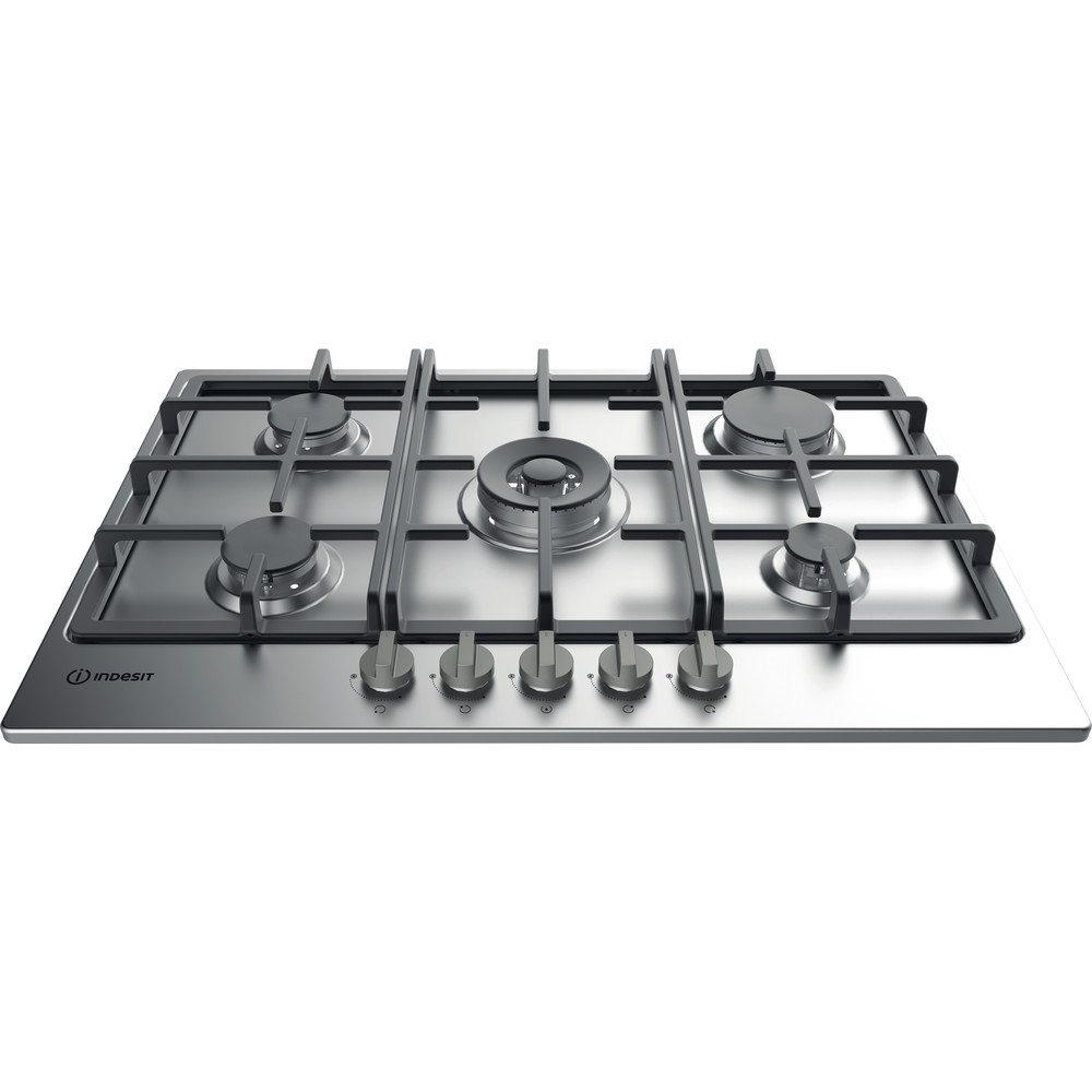 Indesit HOB THP 751 W/IX/I Inox GAS Frontal top down