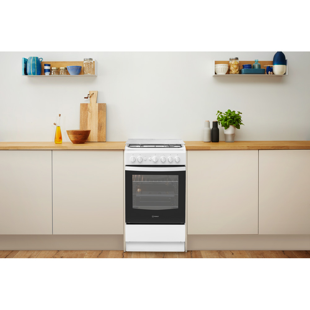 Indesit Kuchenka IS5G2PHW/EU Biel Gazowy Lifestyle frontal