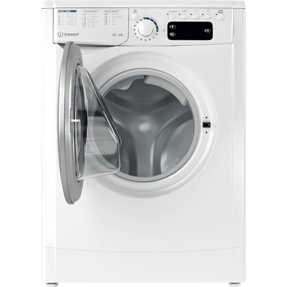 Indesit Kombineret vaskemaskine/tørretumbler Fritstående EWDE 761483 WS EE N Hvid Frontbetjent Frontal open