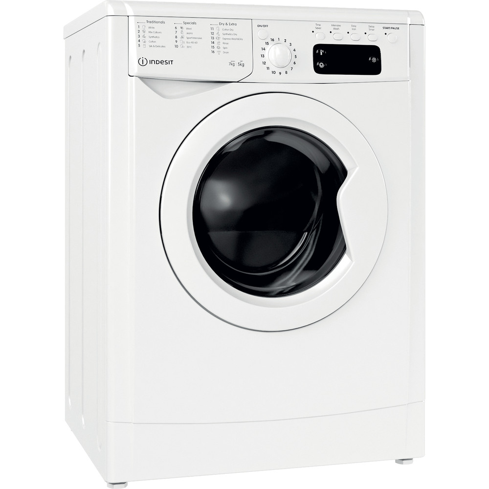 Indesit Washer dryer Free-standing IWDD 75125 UK N White Front loader Perspective