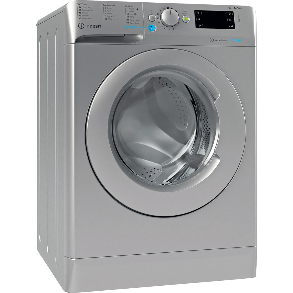 Indesit Washing machine Free-standing BWE 91483X S UK N Silver Front loader D Perspective