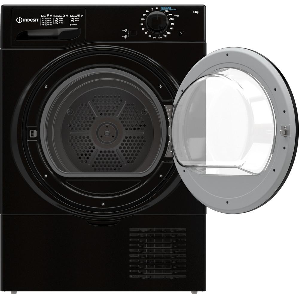Indesit Dryer I2 D81B UK Black Frontal open