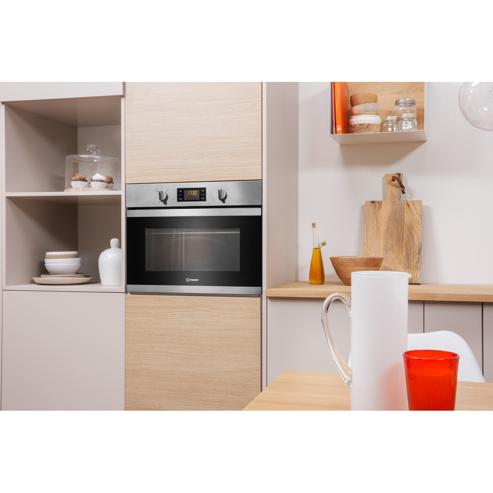 Indesit Microwave Built-in MWI 3443 IX UK Inox Electronic 40 MW+Grill function 900 Lifestyle perspective