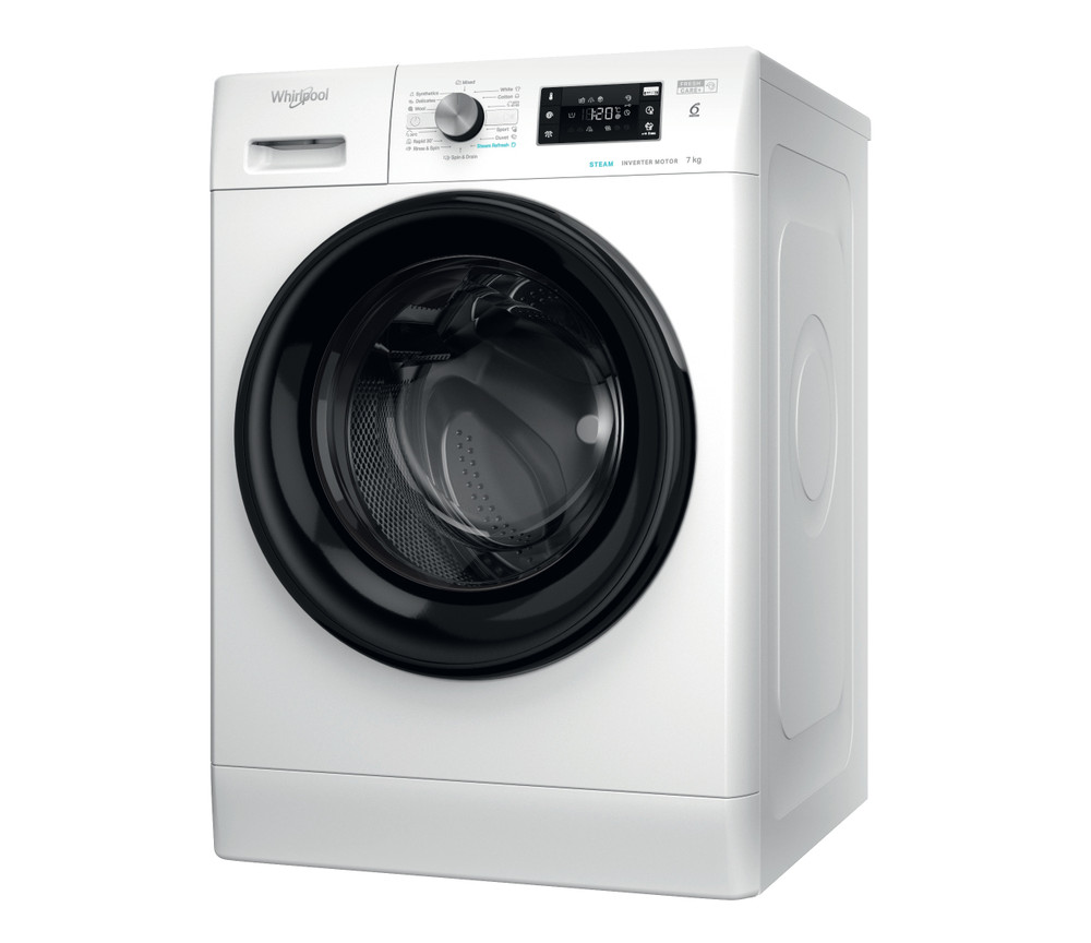 Whirlpool Перална машина Свободностоящи FFB 7438 BV EE Бял Предно зареждане D Perspective