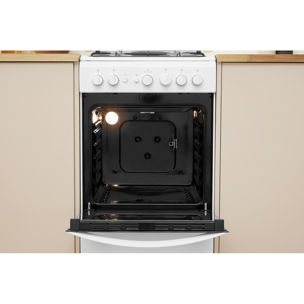 Indesit Fogão IS5G1PMW/E Branco Gás Lifestyle frontal open