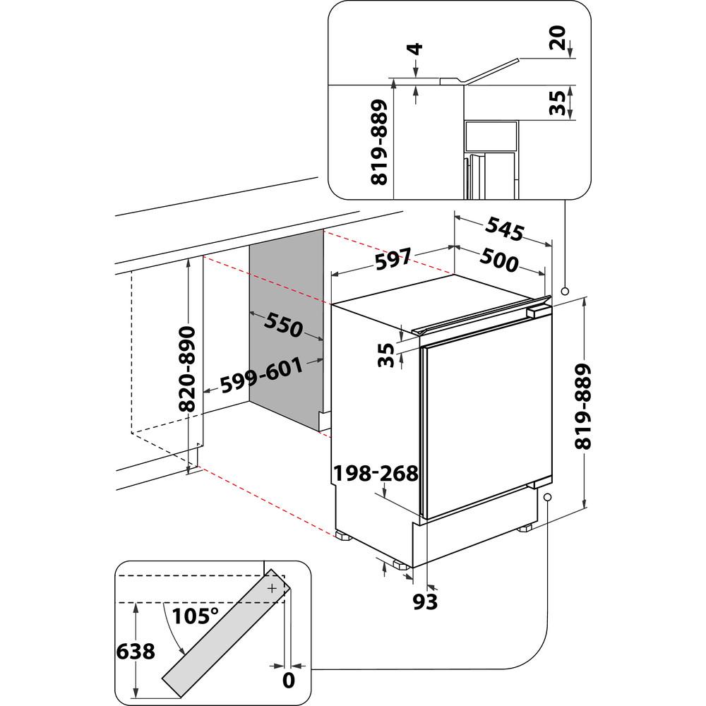 Indesit Refrigerador Encastre IN TSZ 1612 1 Acero Technical drawing