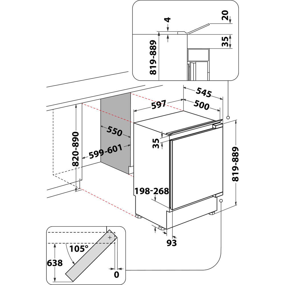 Indesit Frigorifero Da incasso IN TSZ 1612 1 Acciaio Technical drawing