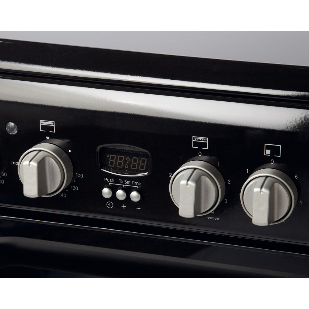 Indesit Double Cooker ID60C2(K) S Black A Vitroceramic Control panel
