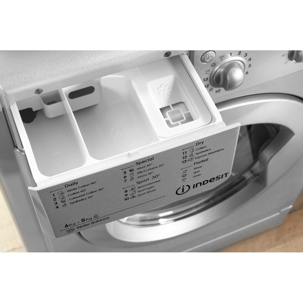Indesit Washer dryer Free-standing IWDC 6125 S (UK) Silver Front loader Drawer