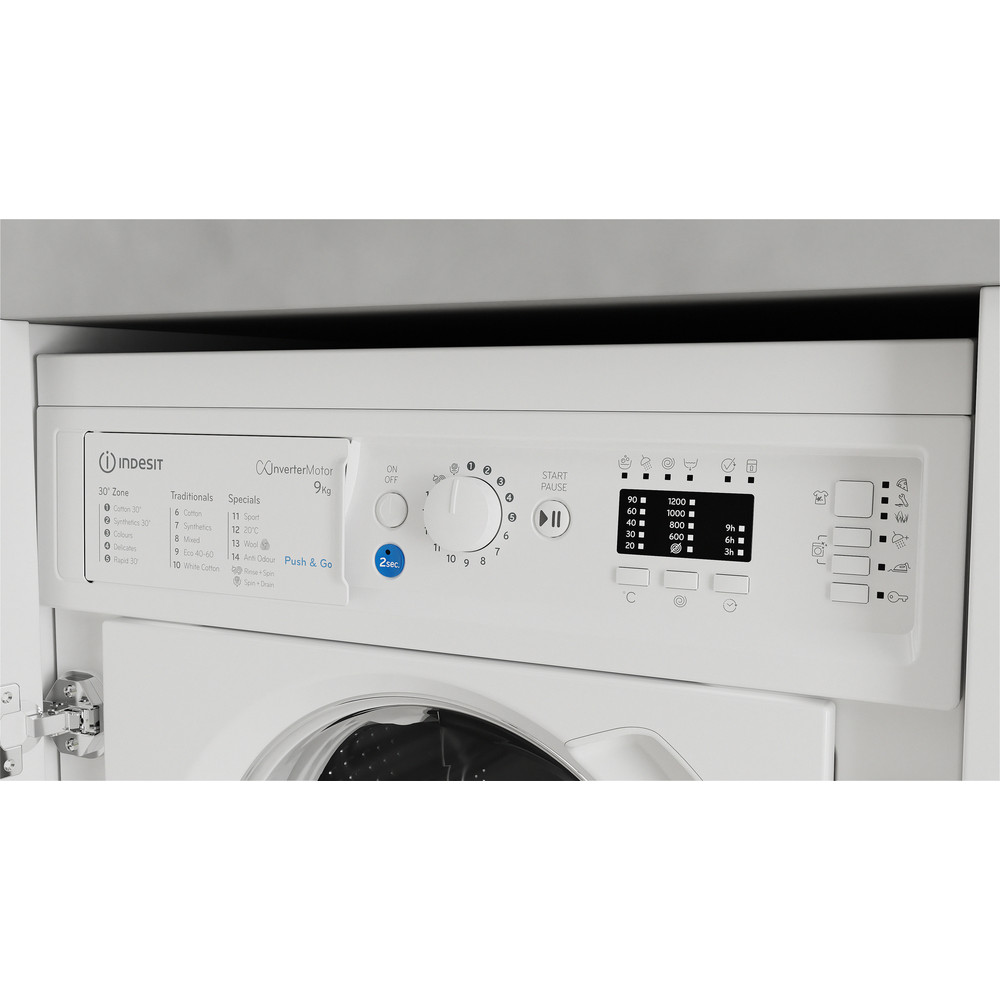Indesit Washing machine Built-in BI WMIL 91484 UK White Front loader C Control panel