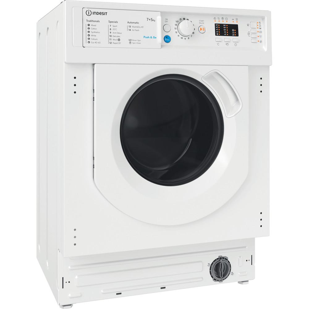 Indesit Washer dryer Built-in BI WDIL 75125 UK N White Front loader Perspective