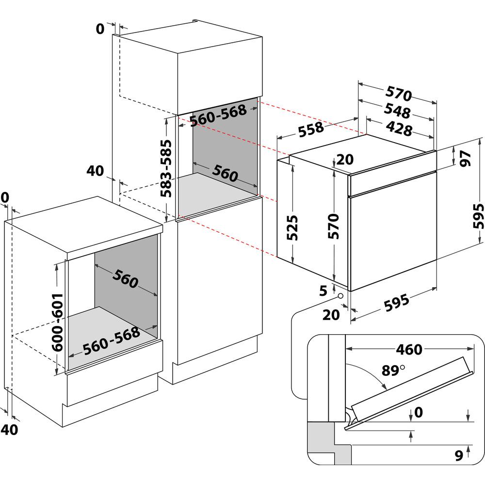 Indesit Uuni Kalusteisiin sijoitettava IFW 3844 JP IX Sähkö A+ Technical drawing
