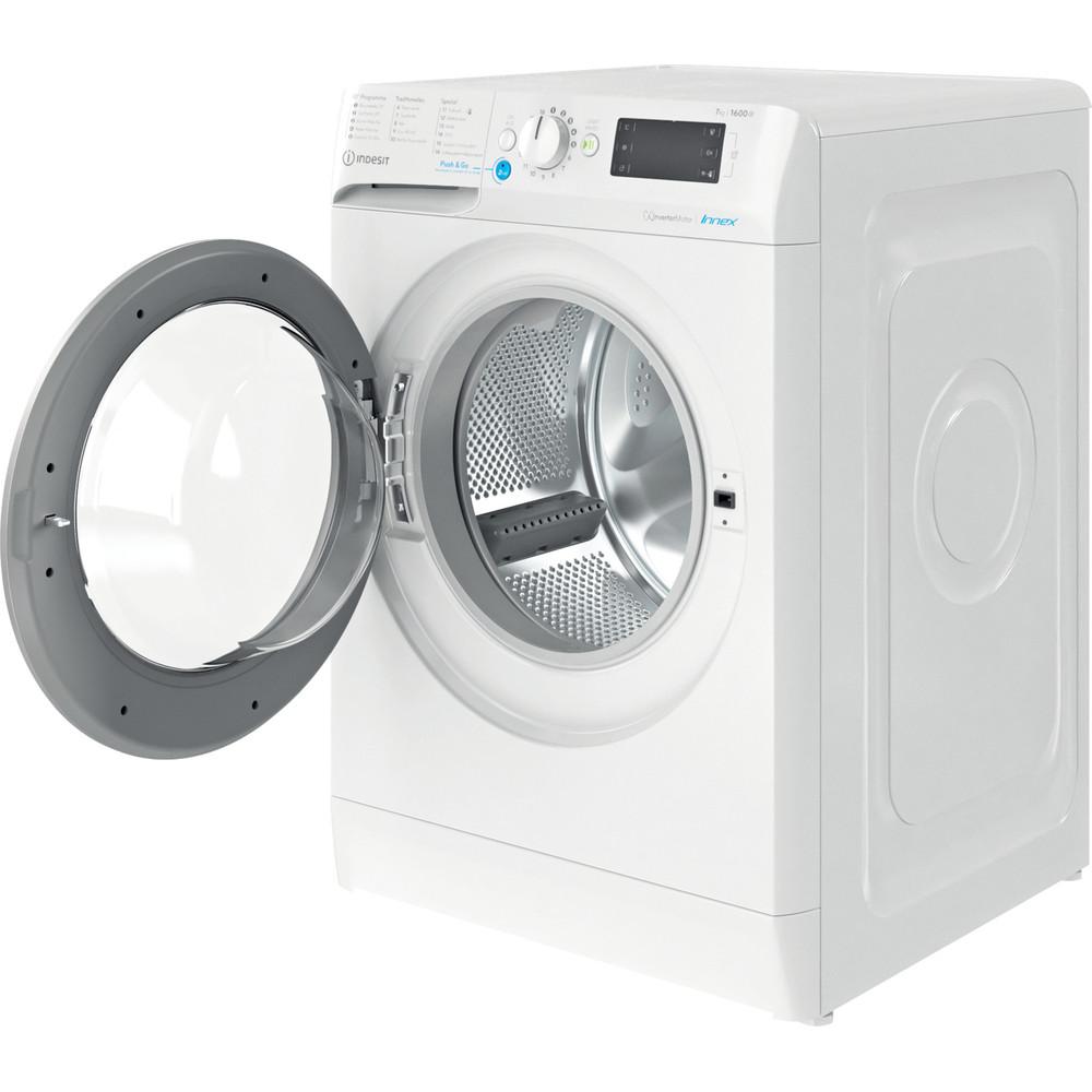 Indesit Waschmaschine Freistehend BWE 71682XE WS DE N Weiß Frontlader E Perspective open