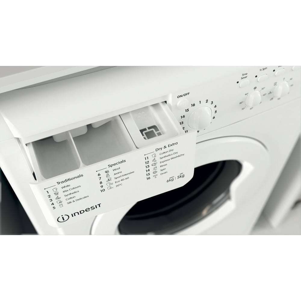 Indesit Washer dryer Free-standing IWDC 65125 UK N White Front loader Drawer