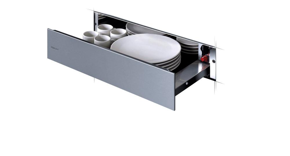 Whirlpool Melegentartó fiók WD 142/IXL Inox Perspective open