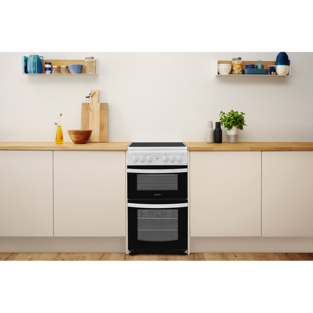 Indesit Double Cooker ID5V92KMW/UK White A Vitroceramic Lifestyle frontal