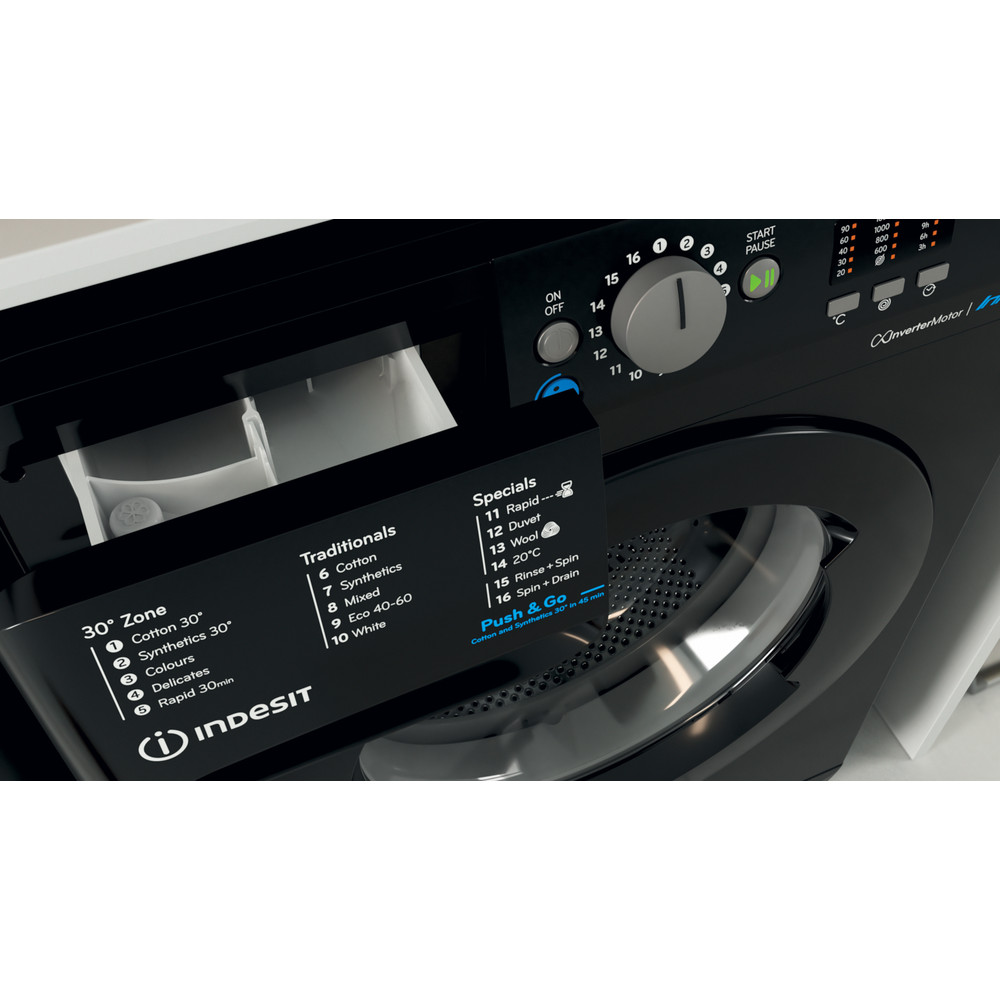 Indesit Washing machine Free-standing BWA 81683X K UK N Black Front loader D Drawer
