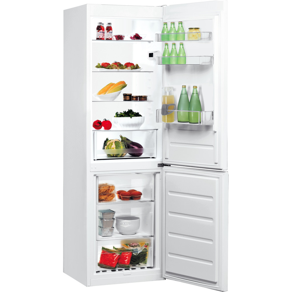 Indesit Kombinerat kylskåp/frys Fristående LI8 S1E W Global white 2 doors Perspective open