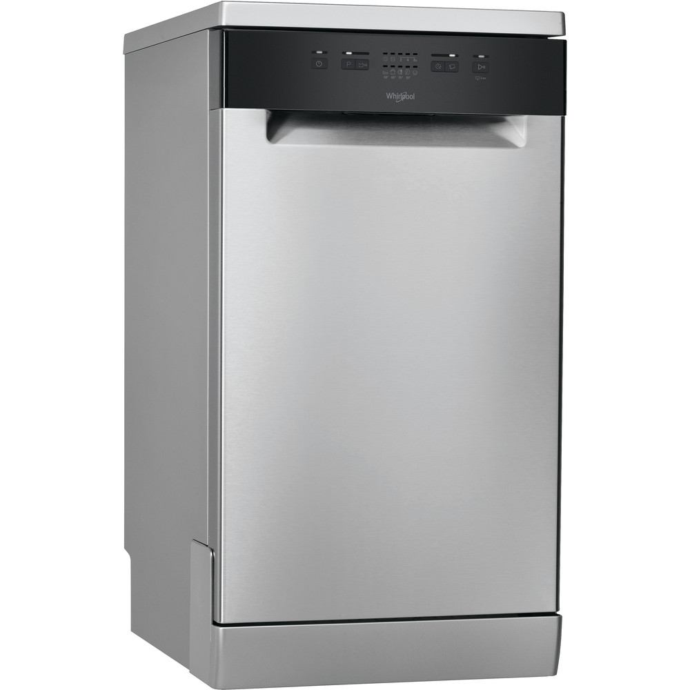 Whirlpool Dishwasher: in Stainless Steel, Slimline - WSFE 2B19 X UK