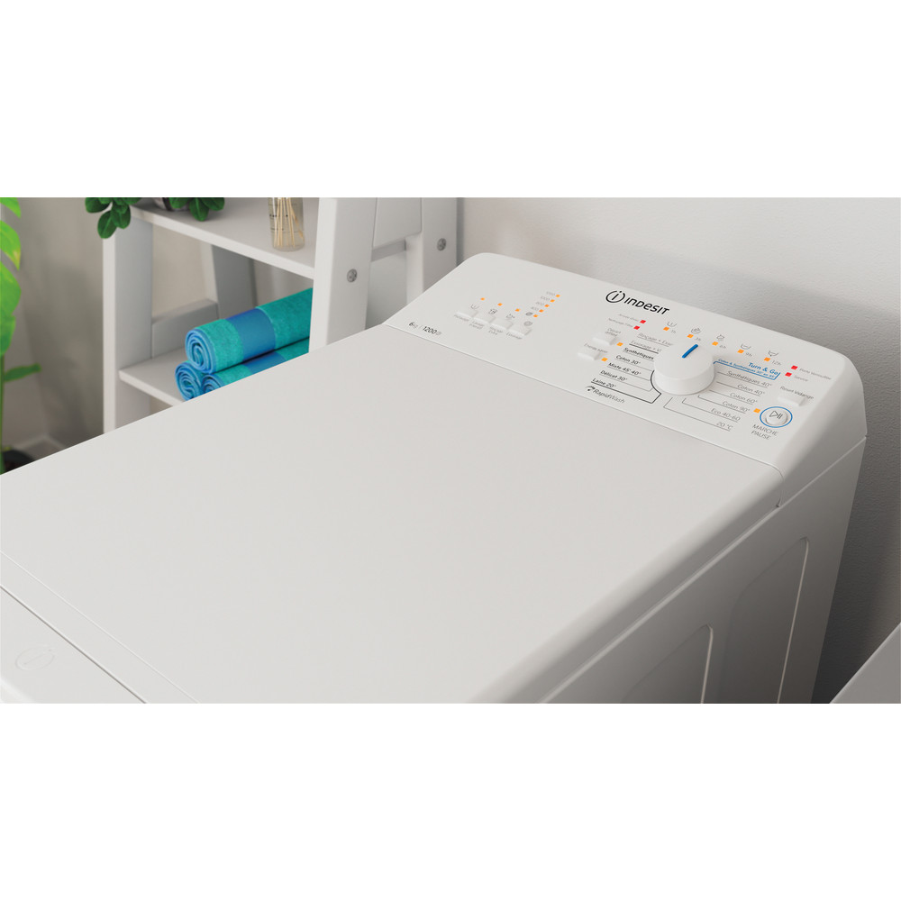 Indesit Lave-linge Pose-libre BTW L6230 FR/N Blanc Lave-linge top D Lifestyle perspective