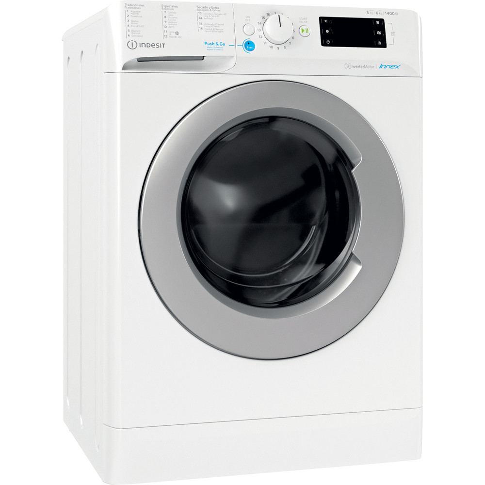 Indesit Lavadora secadora Libre instalación BDE 861483X WS SPT N Blanco Cargador frontal Perspective