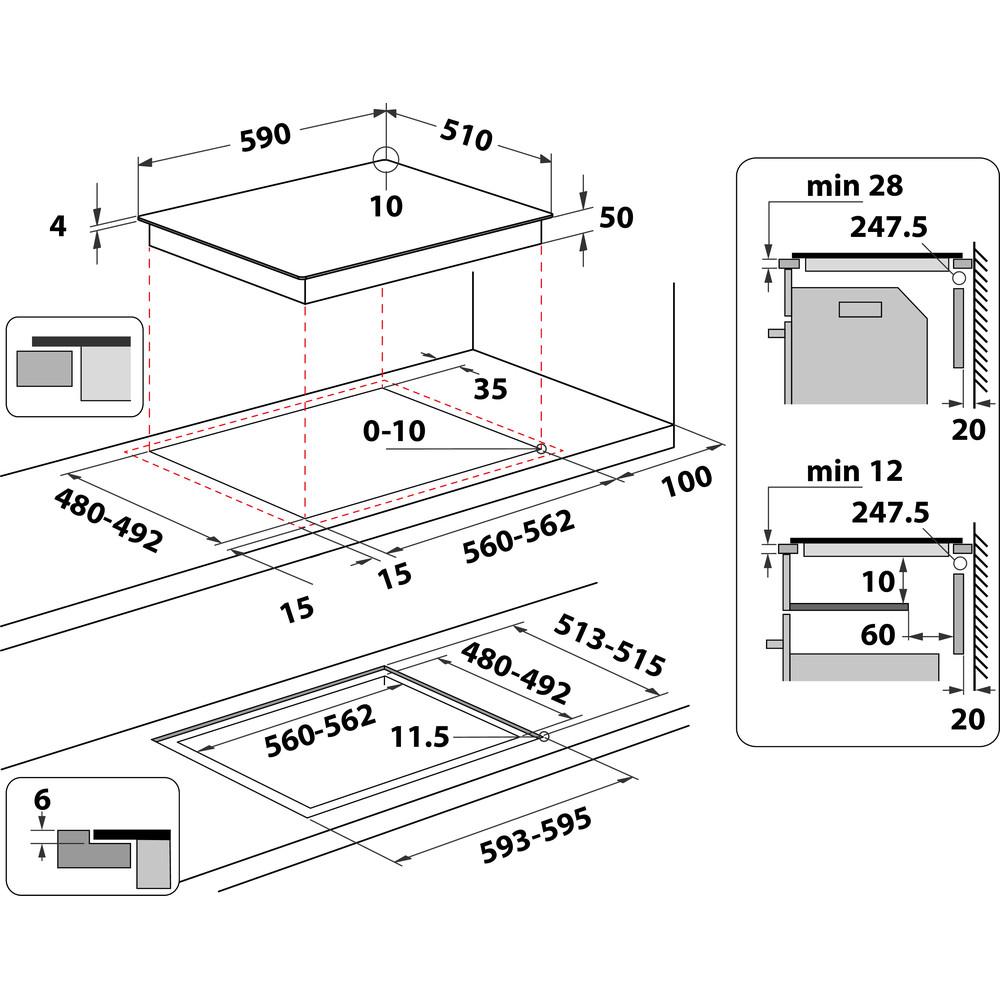 Indesit Koketopp IB 88B60 NE Svart Induction vitroceramic Technical drawing