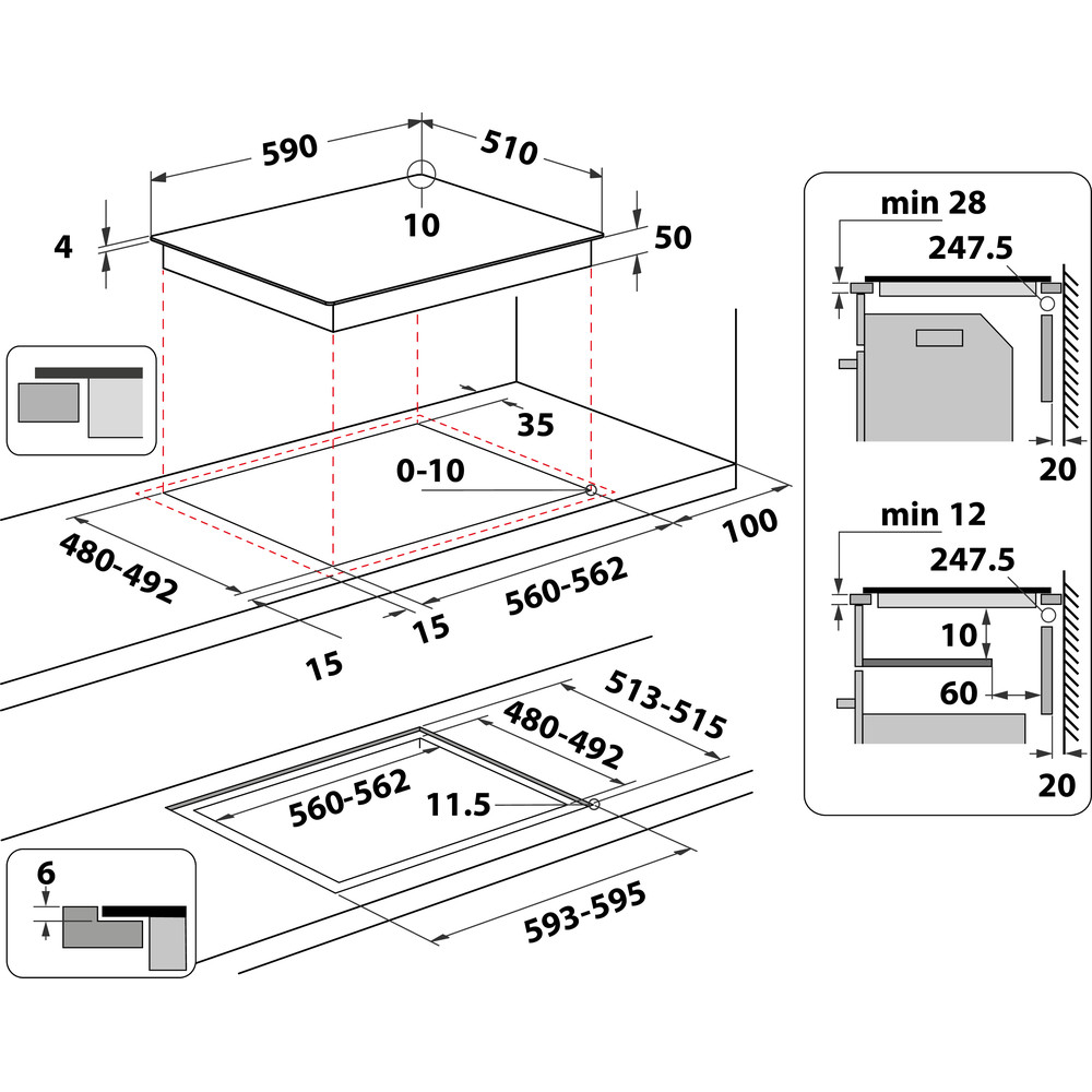 Indesit Kookplaat IB 88B60 NE Zwart Induction vitroceramic Technical drawing