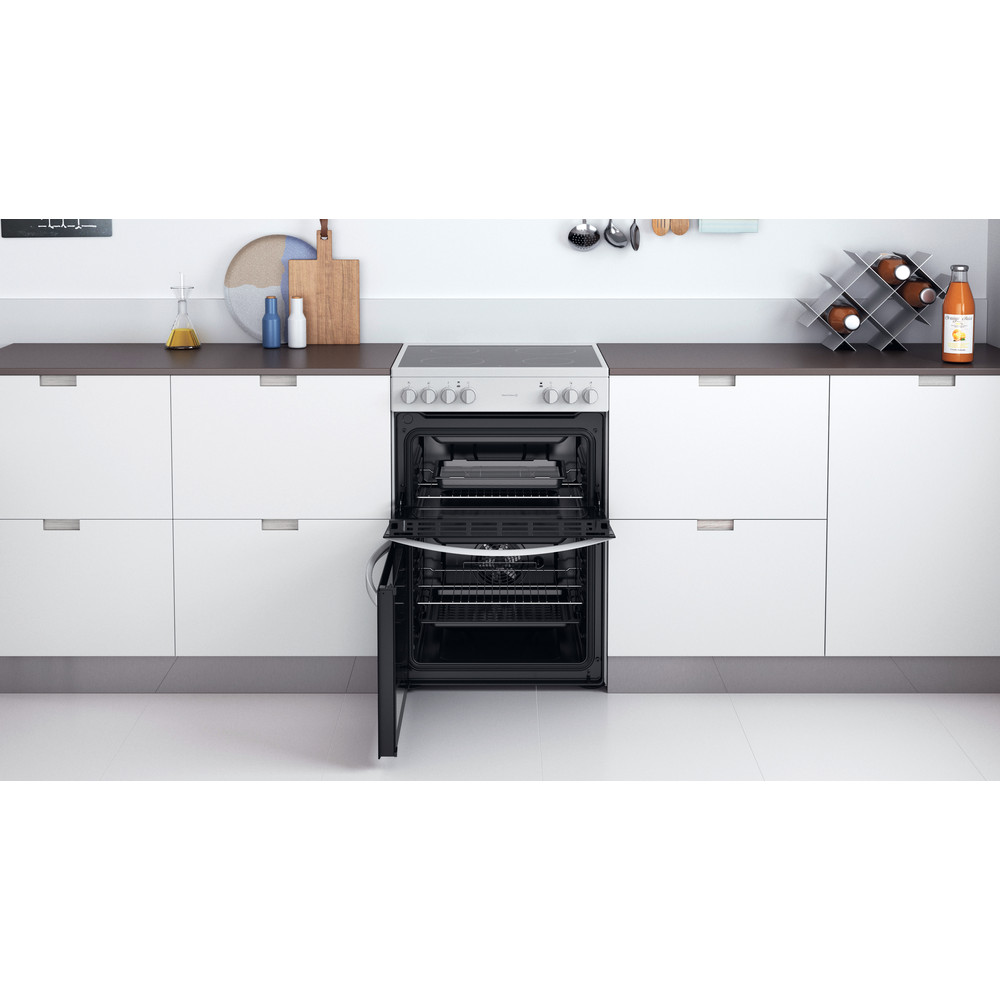 Indesit Double Cooker ID67V9KMW/UK White A Lifestyle frontal open