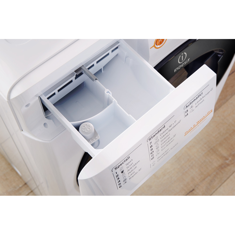 Indesit Lavasciugabiancheria A libera installazione XWDA 751280X WKKK IT Bianco Carica frontale Drawer