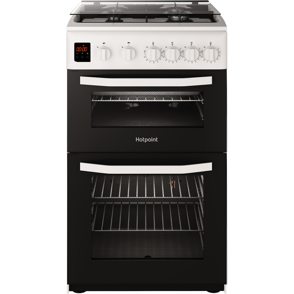 Hotpoint Double Cooker HD5G00CCW/UK White A+ Enamelled Sheetmetal Frontal