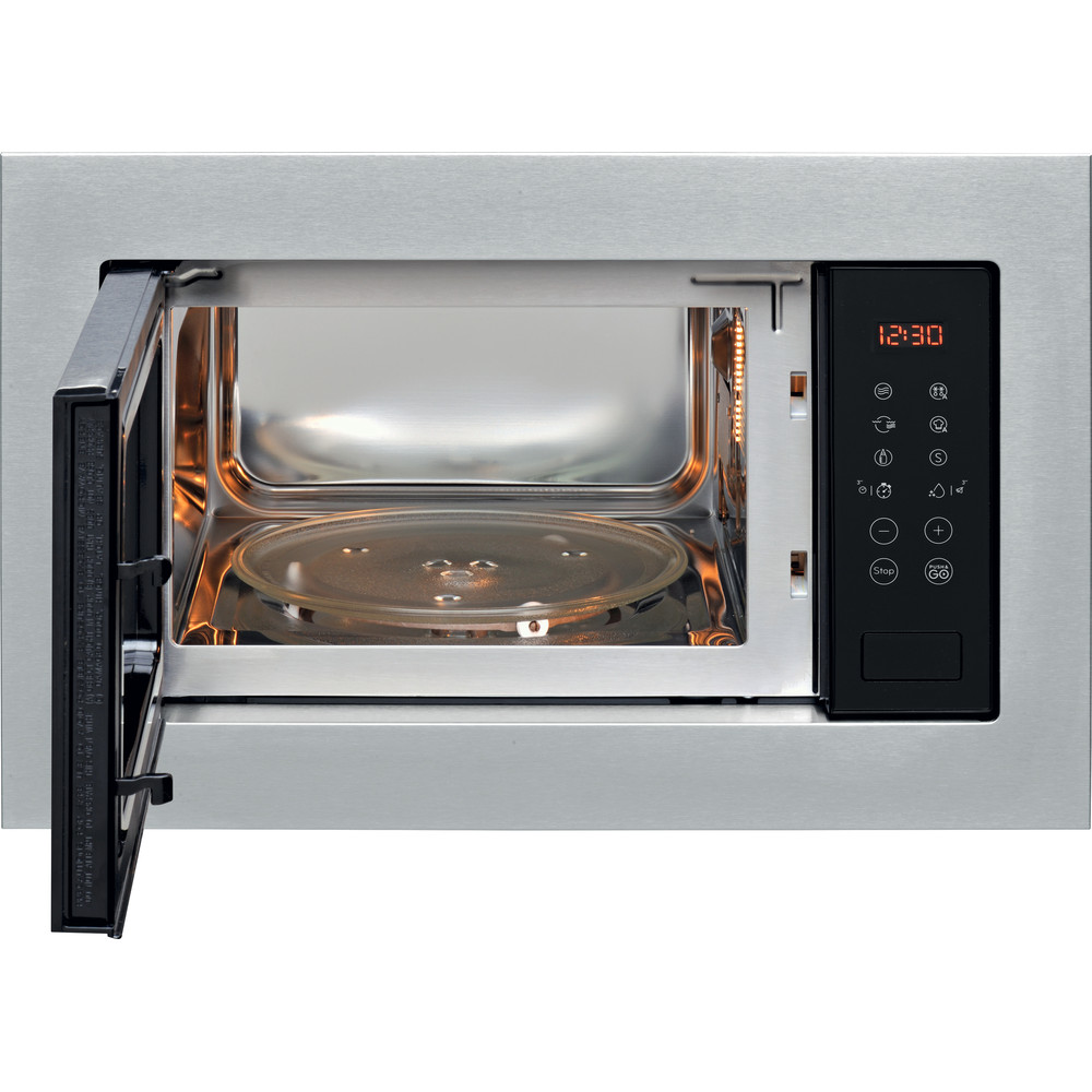 Indesit Microonde Da incasso MWI 125 GX Stainless Steel Elettronico 25 Microonde + grill 900 Frontal open