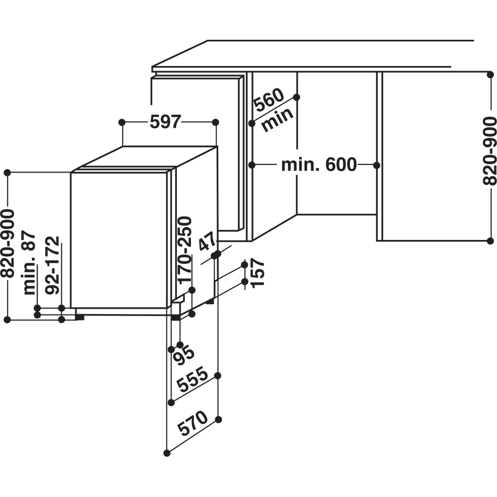 Whirlpool integrerad diskmaskin: färg silver, 45 cm - ADG 6342 6S FD