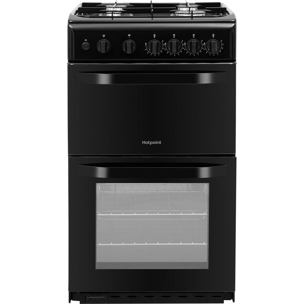 Hotpoint Double Cooker HD5G00KCB/UK Black A+ Enamelled Sheetmetal Frontal