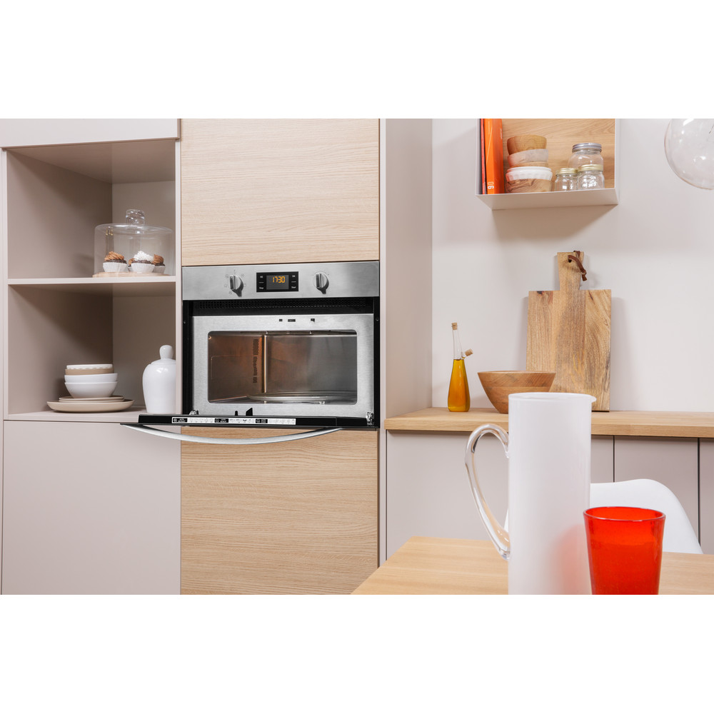 Indesit Microwave Built-in MWI 3443 IX UK Inox Electronic 40 MW+Grill function 900 Lifestyle perspective open