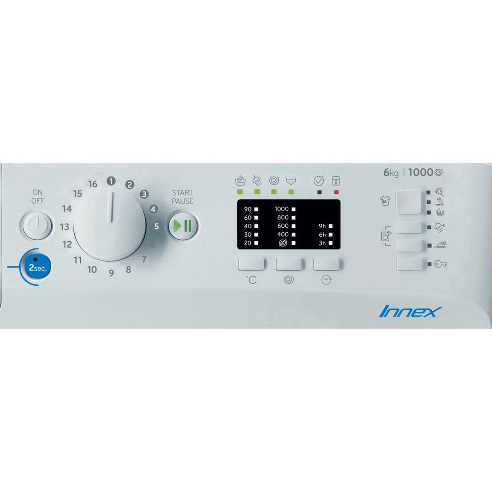 Indesit Mosógép Szabadonálló BWSA 61051 W EU N Fehér Front loader F Control panel